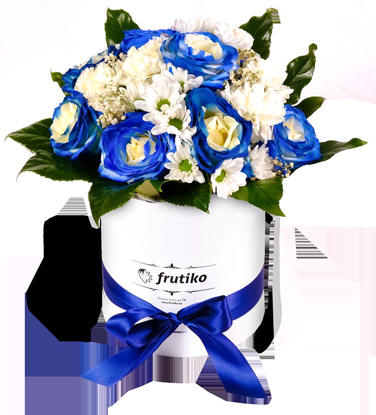Krabice modrých růží mix - rozvoz, dárek