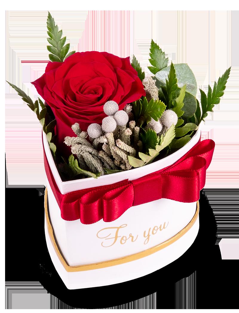 Srdce s 1 růží - rozvoz, dárek