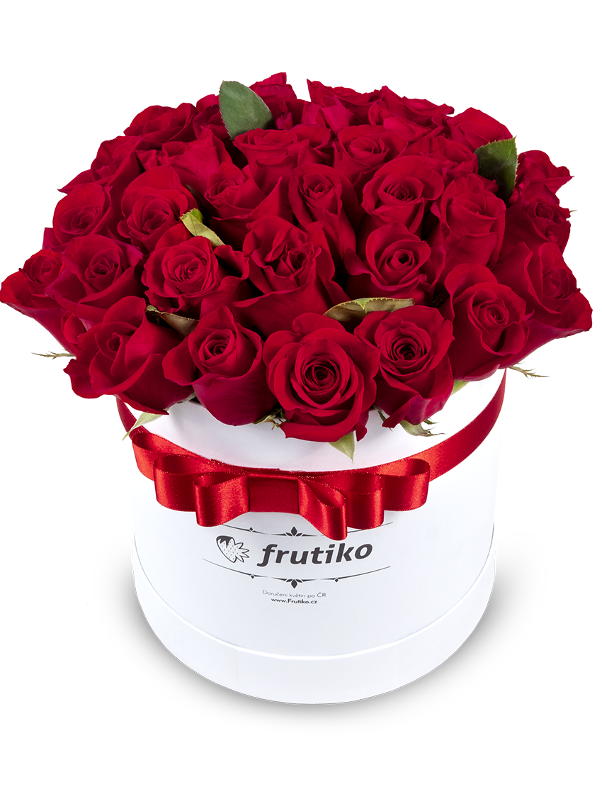 Frutiko Krabice s červenými růžemi - rozvoz, dárek