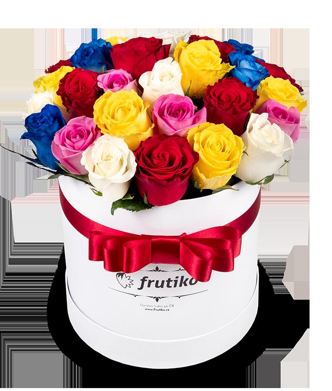 Bílá krabice růží MIX - rozvoz, dárek