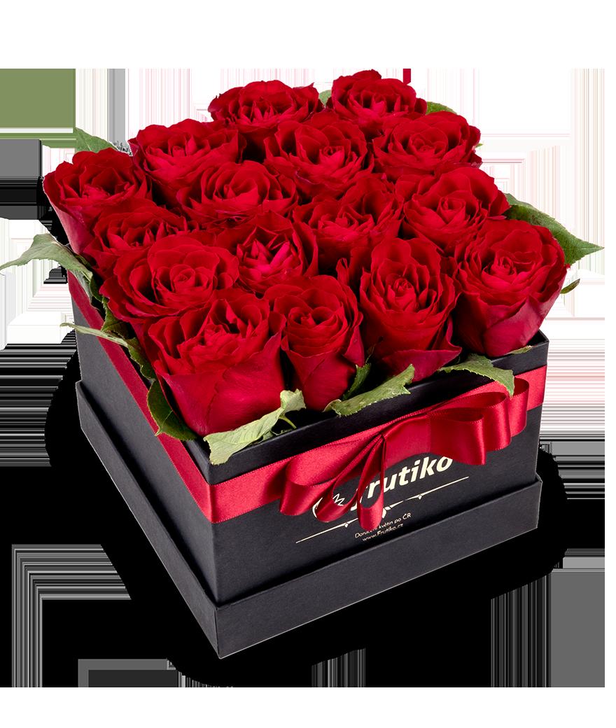 Černá krabice rudých růží - rozvoz, dárek