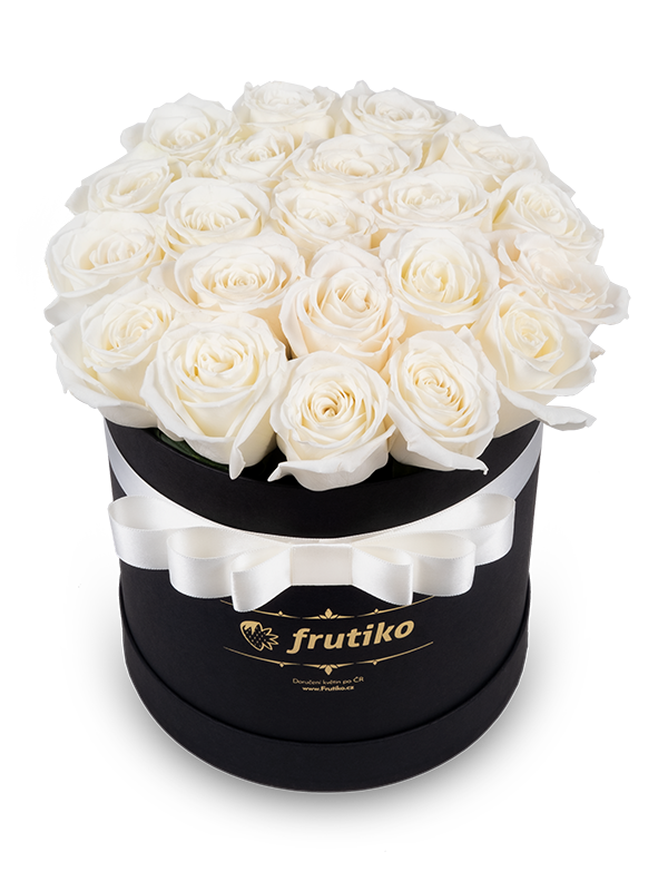 Černá Krabice s bílými růžemi - rozvoz, dárek