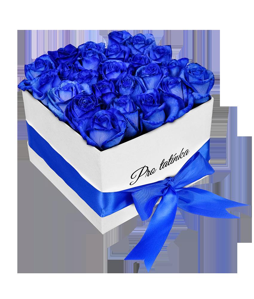Krabice modrých růží s nápisem Pro tatínka - rozvoz, dárek