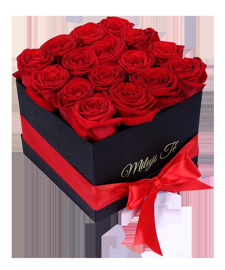 Černá hranatá krabice rudých růží s nápisem Miluji Tě - rozvoz, dárek