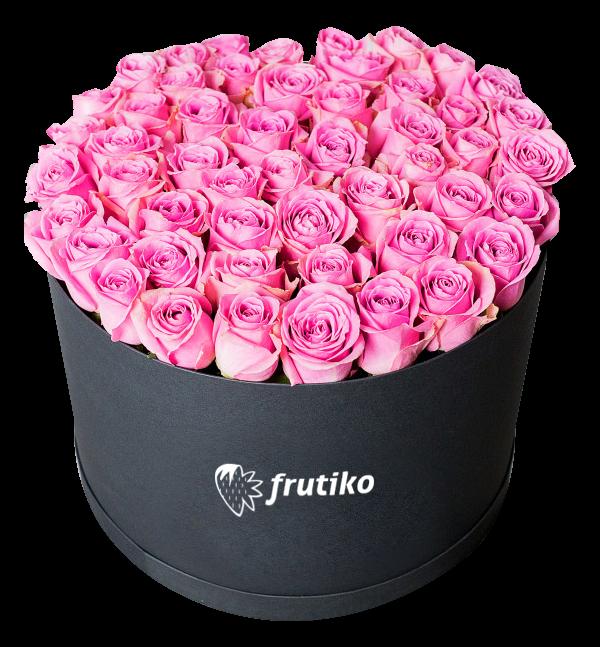Černá Krabice s růžovými růžemi - rozvoz, dárek