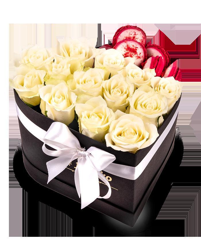 Černé srdce rudé růže + Makronky - rozvoz, dárek