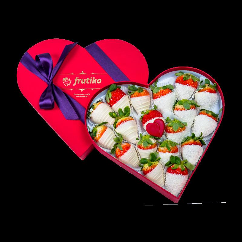 Srdcová bonboniéra bílé jahody - rozvoz, dárek